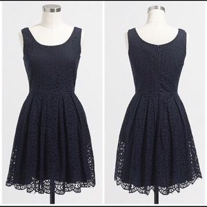 J. Crew Navy Swirling Lace Skater Dress